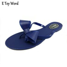 8ee2709dcd5c 2018 flip bow flat heel slippers fashion sandals female solid color flip  flops jelly shoes(