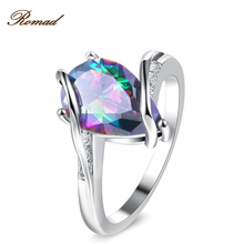 ROMAD Water Drop Zircon Ring Around Trendy Party Rings for Women colorful water droplets ring