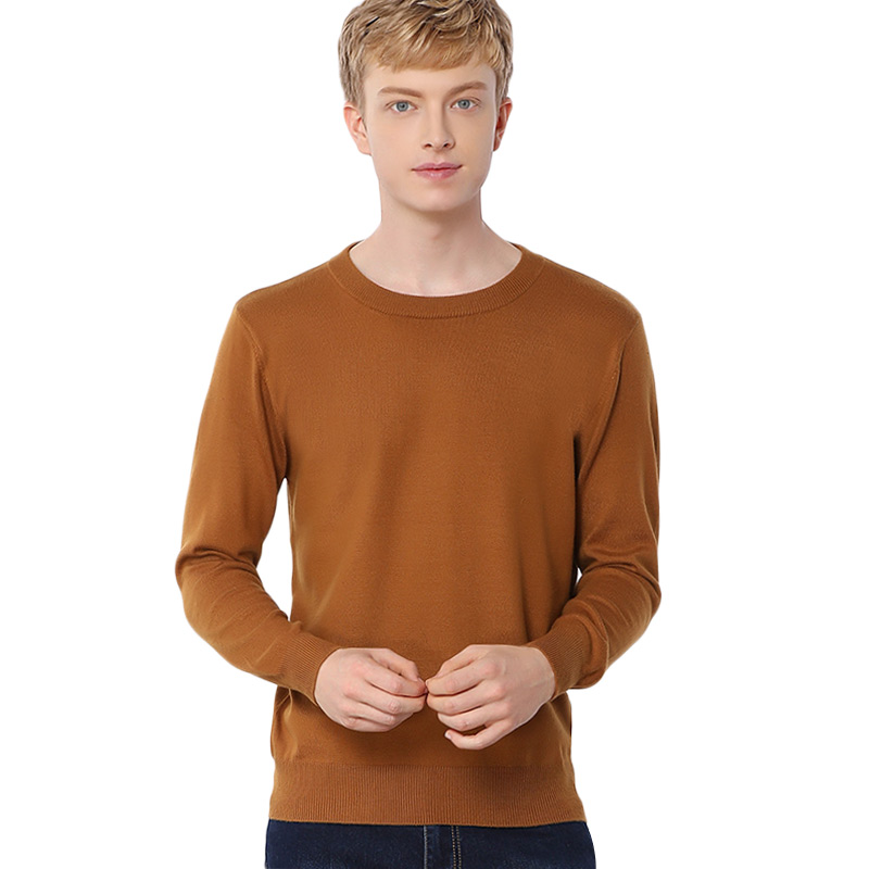 Men O-Neck Wool Cashmere Blended Sweater Pullover Mens Basic Sweaters Male Roundneck Knitted Classic Sweater Pullovers Wool