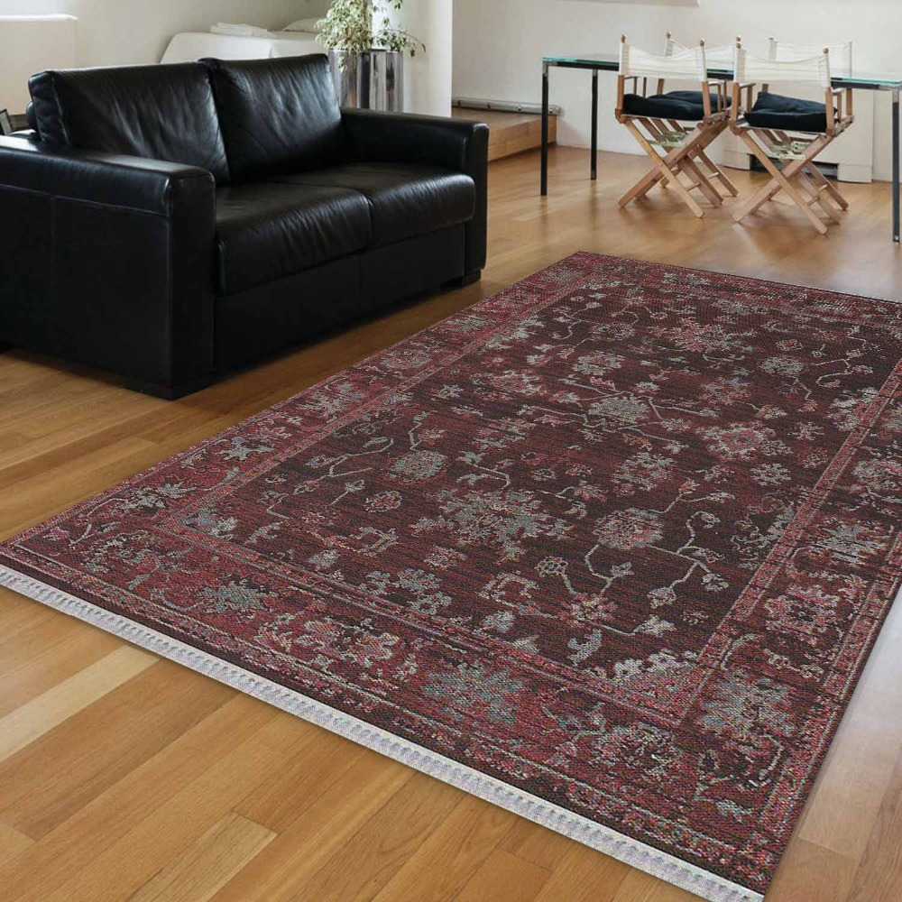 Else Purple Floor Retro  Brown Gray Flower Vintage 3d Print Anti Slip Kilim Washable Decorative Kilim Area Rug Bohemian Carpet