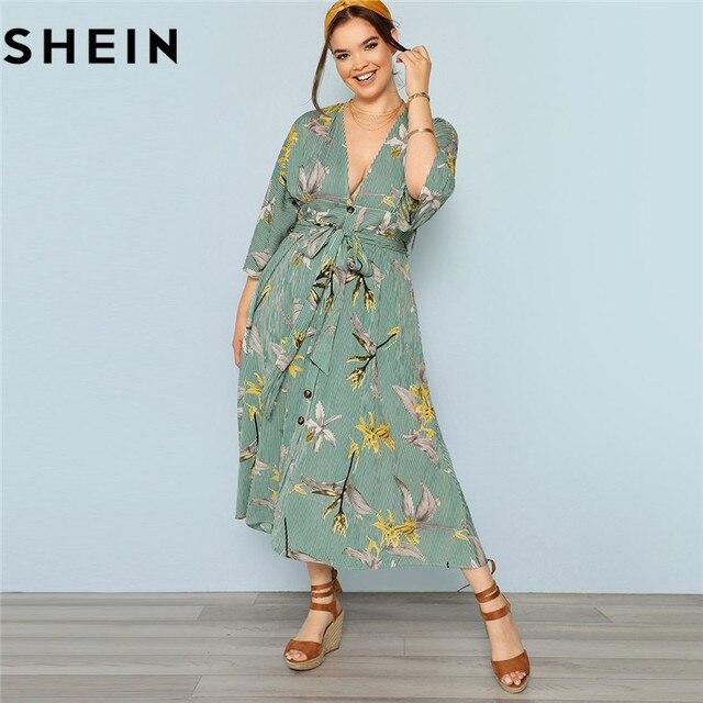 3e275fcd3 SHEIN verde bohemio Floral estampado Sexy profundo cuello pico alta cintura más  tamaño mujeres Maxi vestido