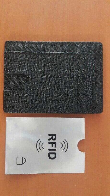 RFID Blocking Leather Visitekaarthouder Bank ID Creditcard Beschermhoes Mode Lederen Portefeuilles voor Heren & Dames photo review