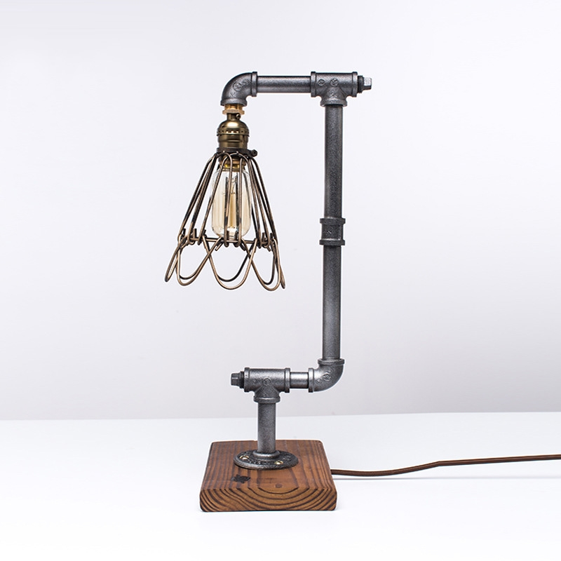 Loft Vintage Industrial Water Pipe Table Light Edison Desk Accent Wood Lamp Cafe Ancient Silver(220V) az8403 standard probe dissolved oxygen sensor 840p dissolved oxygen probe dissolved oxygen meter in water tool accessories