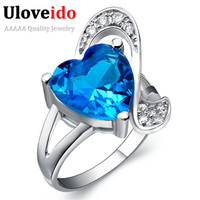 New Style 2014 Fashion 925 Silver Blue Amethyst Ruby Red Crystal Ring Jewelry For Wedding Statement
