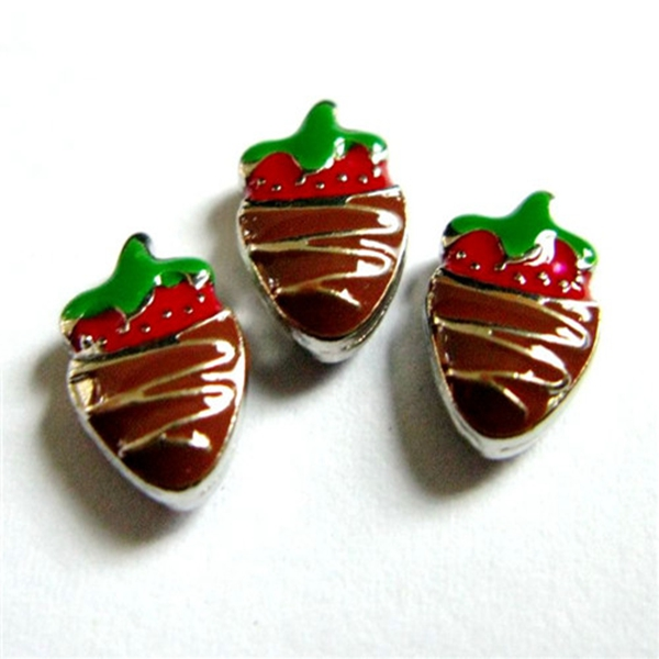 20PCS Red Chocolate Strawberry Alloy Floating Charms Fit Glass Locket Charms DIY Jewelry Accessories
