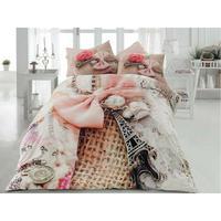 3D LINDA PARIS EIFFEL Double Queen 100% Cotton Ranforce Duvet Cover Bed Set 4Pcs Duvet Cover     -