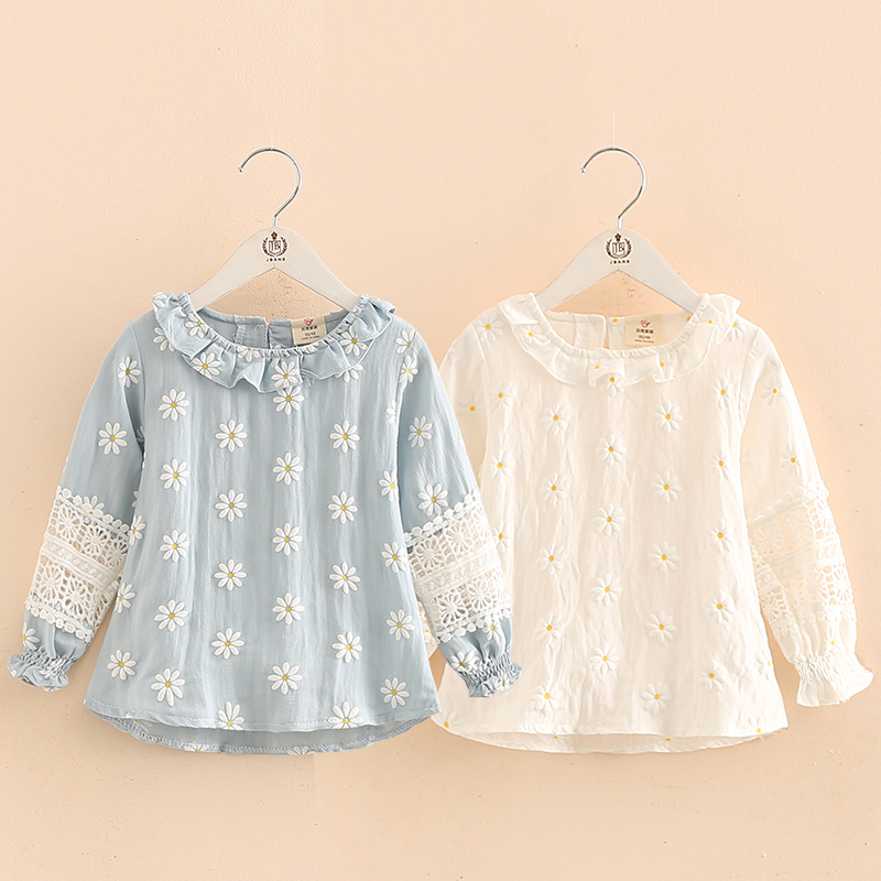 2018 Spring Autumn Fashion Children'S Clothing Cotton Baby Kids Girl Long Sleeve Cutout Hollow Out Flower Floral   Blouse     Shirt