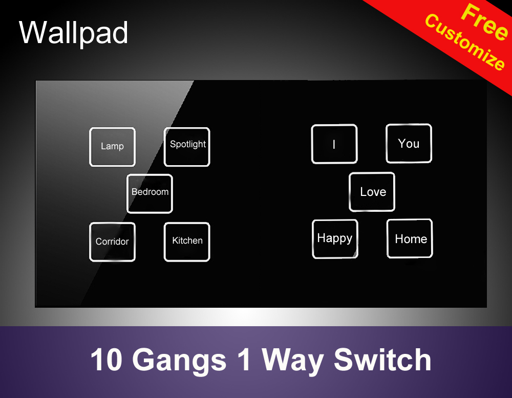 Hot Sales Hotel Led indicator 10 gangs 1 way Black wall touch lamp switch,172*86mm DIY Button touch light switch,Free Shipping