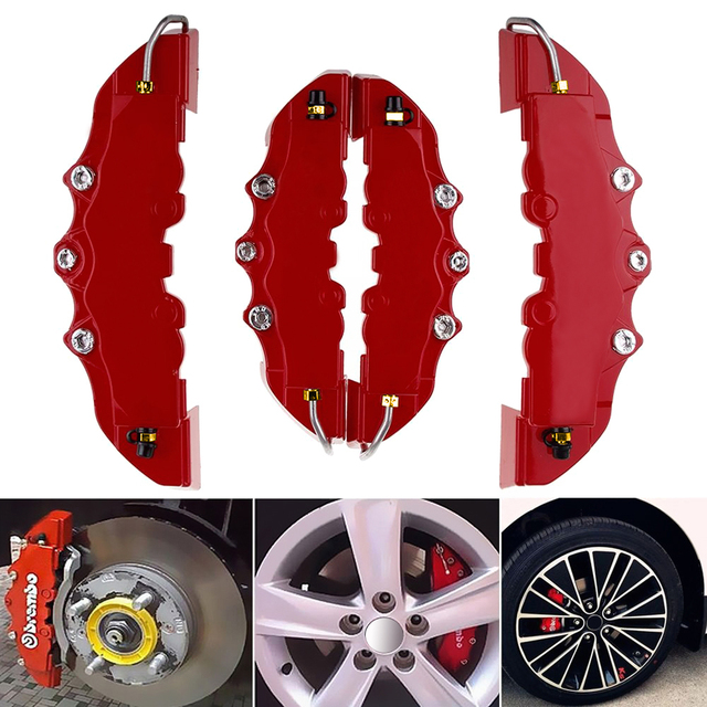 High Quality ABS Plastic Truck 3D Red Useful Car Universal Disc Brake Caliper Covers Front Rear Auto Universal Kit