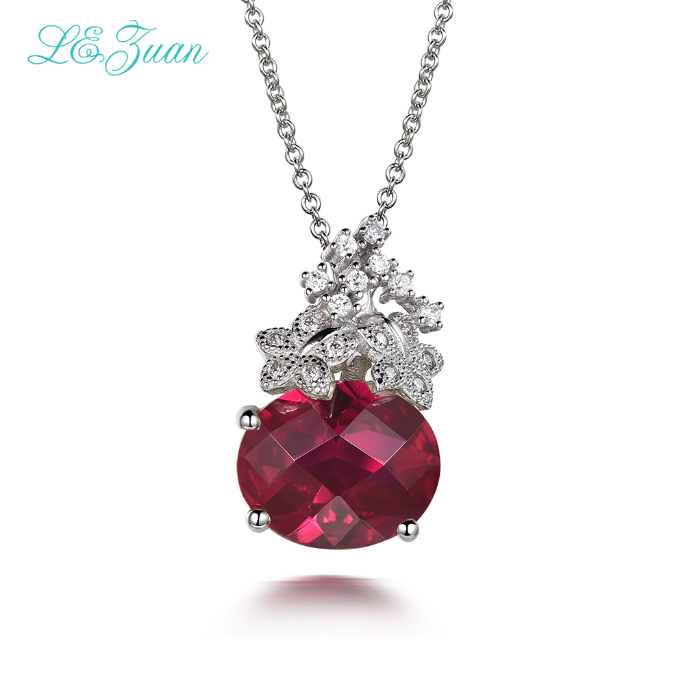 L&zuan 100% 925 Sterling Silver 5.62ct Natural Ruby Gemstone Trendy Necklace Pendants For Women Luxury Fine Jewelry P0062 W01