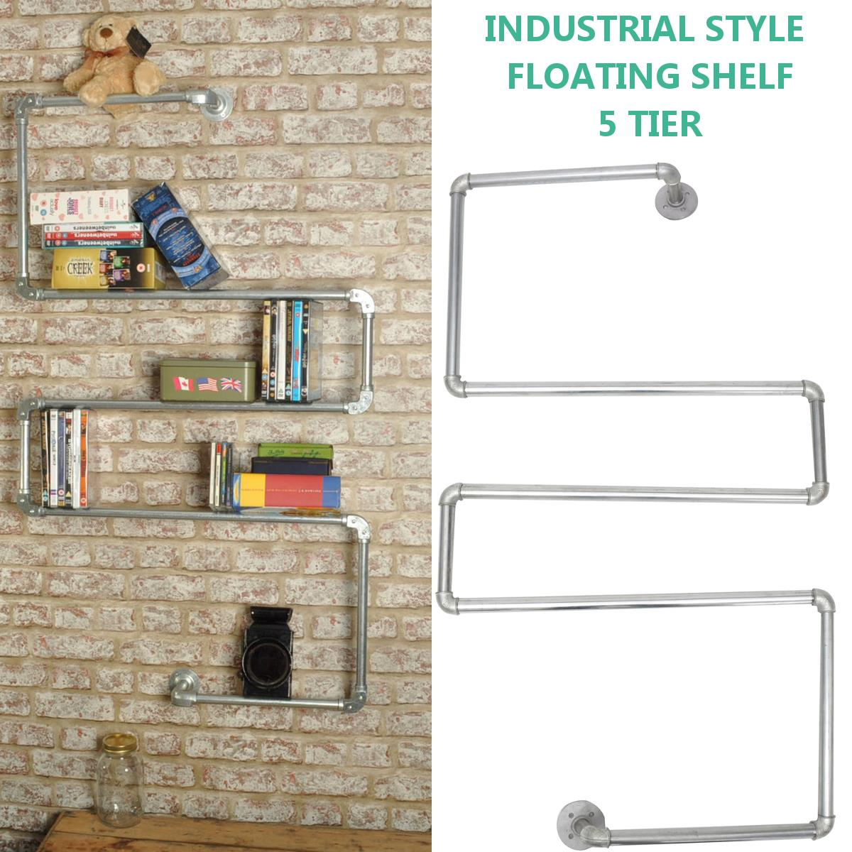 Loft American Country Style Wrought Iron Wall Shelf Shelves Retro Industrial Pipes Simple Fashion Display-z30 Easy To Use Home Improvement