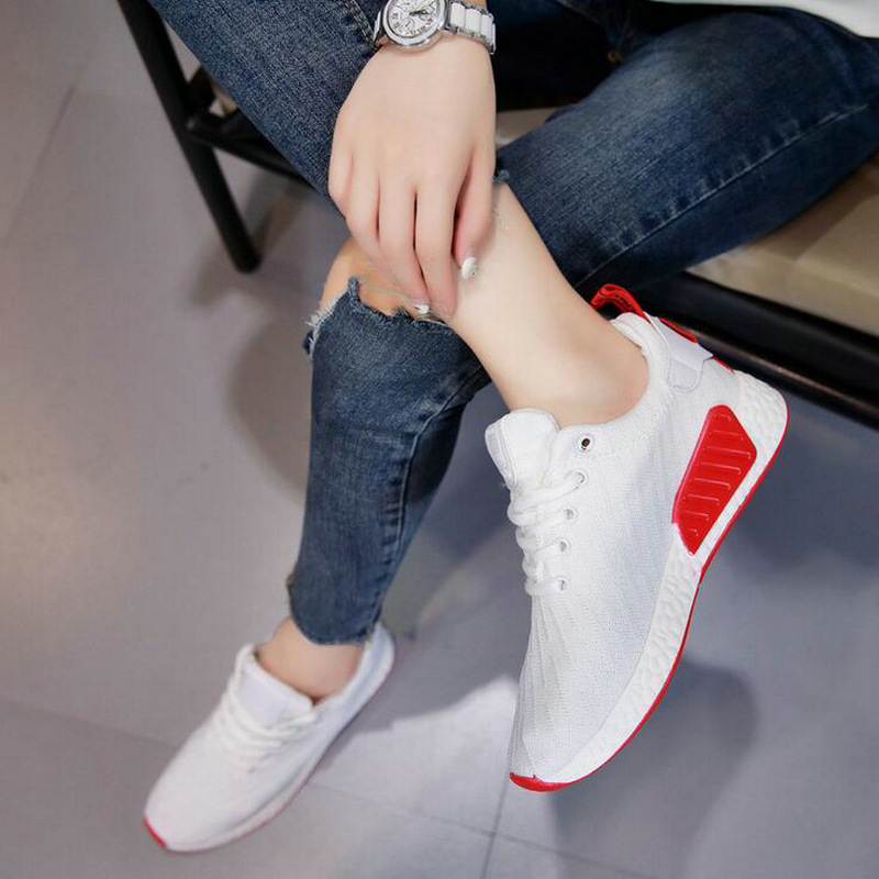2018 new women fashion summer Air mesh sneakers breathable casual flats light shoes lady Shallow lace up shoes BIG SIZE-43 QA-29