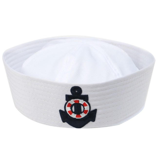 White Sailor Hat with Embroidery Anchor 4263442092d