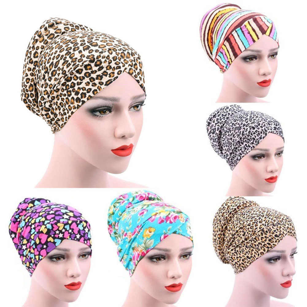 Women's Leopard Muslim Stretch Turban Hat Chemo Cap Hair Loss Head Scarf Hijab