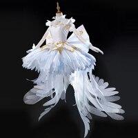 Новый аниме Card Captor Sakura Crystal битва белое платье форма Косплэй костюм Для женщин Хеллоуин костюм корона + носки + бантом
