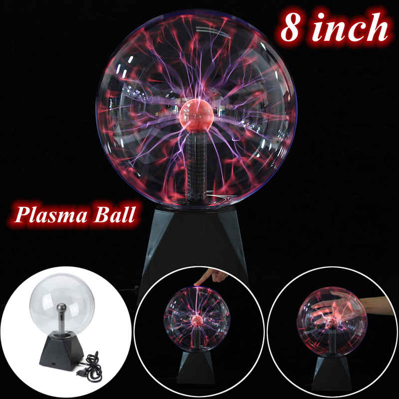 8 inch Magic Plasma Ball Sphere Lightn ing Crystal Globe Touch Nebula Light Home Furniture Lighting Decor Toys Gift