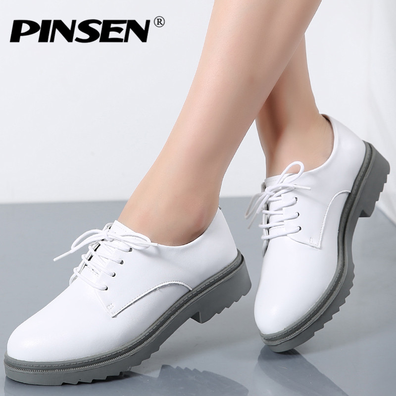 PINSEN High Quality Women Oxfords Flats Platform shoes Genuine Leather Lace-up Round Toe Creeper White Loafers Shoes For Women high quality women oxfords low heel casual shoes patent leather tassel comfort slip on round toe creeper black loafers