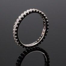 цена на 925 Sterling Silver Wedding Rings Full Circle Small Shiny Zircon Ring for Women Elegant Temperament Jewelry