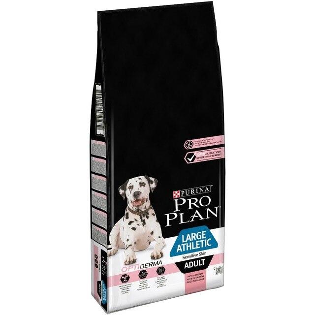 Сухой корм Pro Plan для взрослых собак крупных пород с атлетическим телосложением с чувствительной кожей с комплексом OPTIDERMA® с лососем и рисом, Пакет, 14 кг