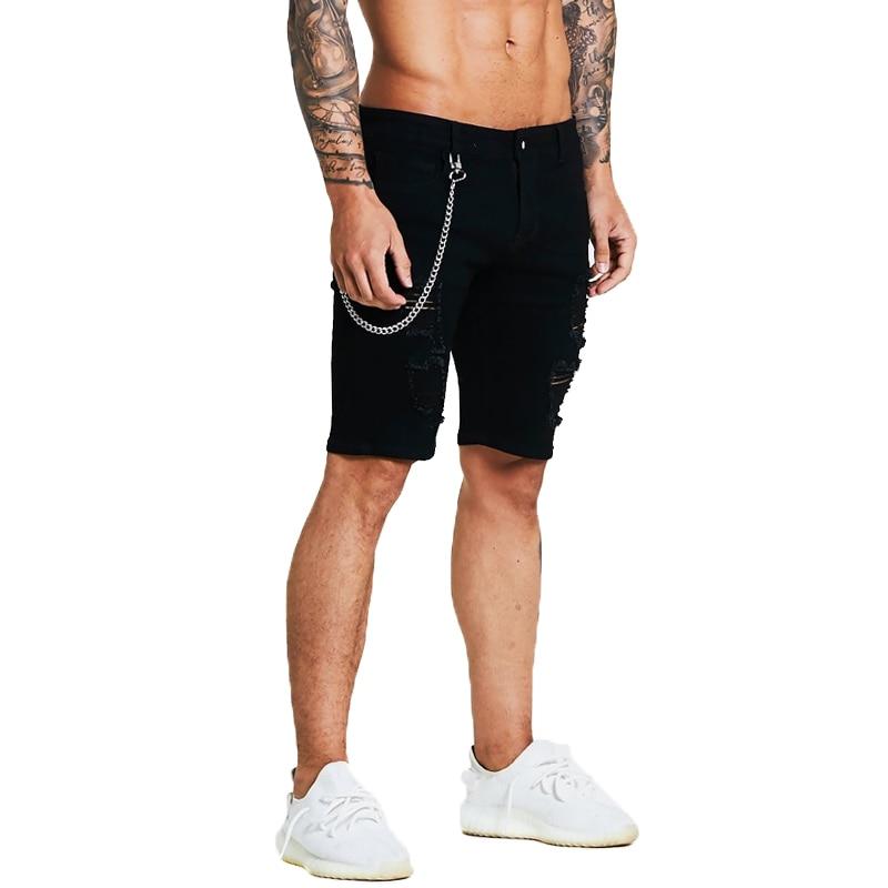 adf9aa18d108 Gingtto Kurze Jeans Slim Fit Shorts Für Männer Sommer Dünne Jeans Schwarz Ripped  Jeans Mit Kette Dünne Kurze Jeans hip Hop in Gingtto Kurze Jeans Slim Fit  ...