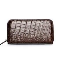 CUWHF высокое качество Для мужчин кошелек 100% крокодиловой кожи Длинные сцепления кошельки для Для мужчин тонкий кожаный бумажник кошелек муж
