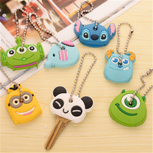 4363 wholesale mixed hair creative cute cartoon silicone protective case key chain student key chain pendant case(China)