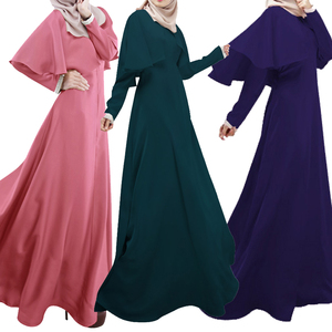 Bubble Tea 2017 Muslim Women Dress Sunday Best Long Sleeve Dresses Malaysia Islamic Abaya Fashion Pure Color Shawl Dress Robes