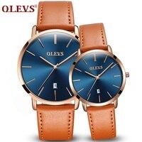 Barato Reloj pareja cuero de lujo marca OLEVS reloj de cuarzo deportivo resistente al agua para mujer calendario automático 1 Uds precio kol saati regalo de amantes