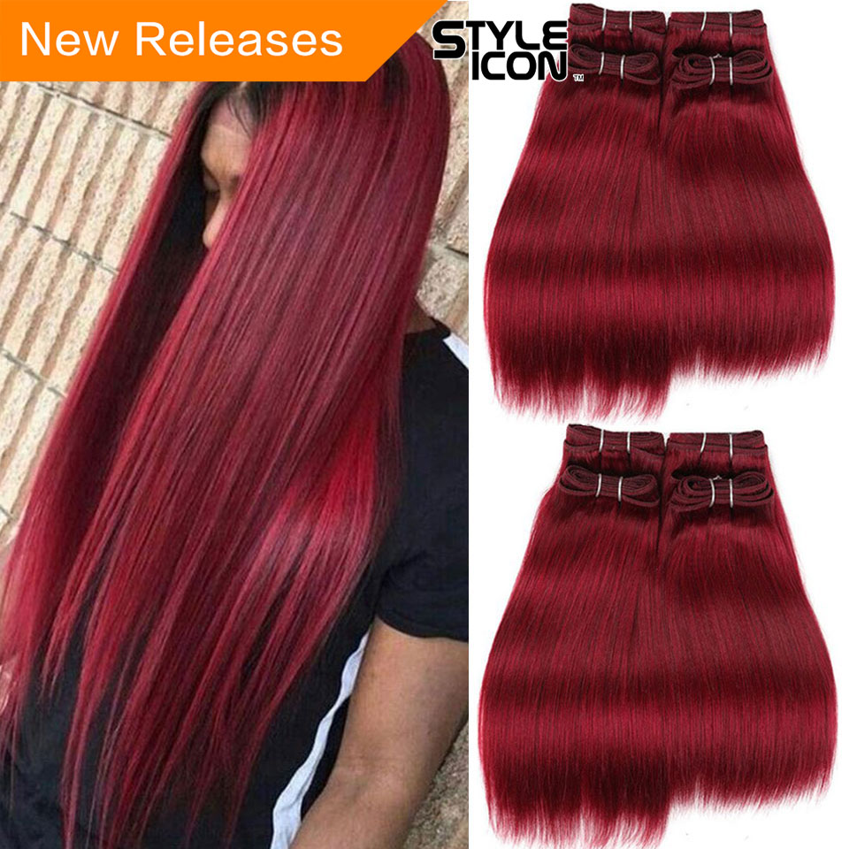 Styleicon Brazilian Yaki Straight Human Hair Bundles 4 Bundles Deal 190G 1 Pack Red Hair Non Remy 1B 2 4 99J Burg Hair Extension(China)