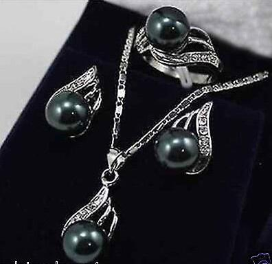 Jewelry Black Pearl Bow Pendant Necklace Earring Set AAA style 100% Natural Noble Fine jewe >>>girls jewelry sets Free shipping