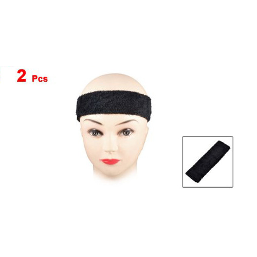 MYTL 2 PCS Exercise Elastic Terry Cloth Headband Sweatband Black in Women 39 s Hair Accessories from Apparel Accessories
