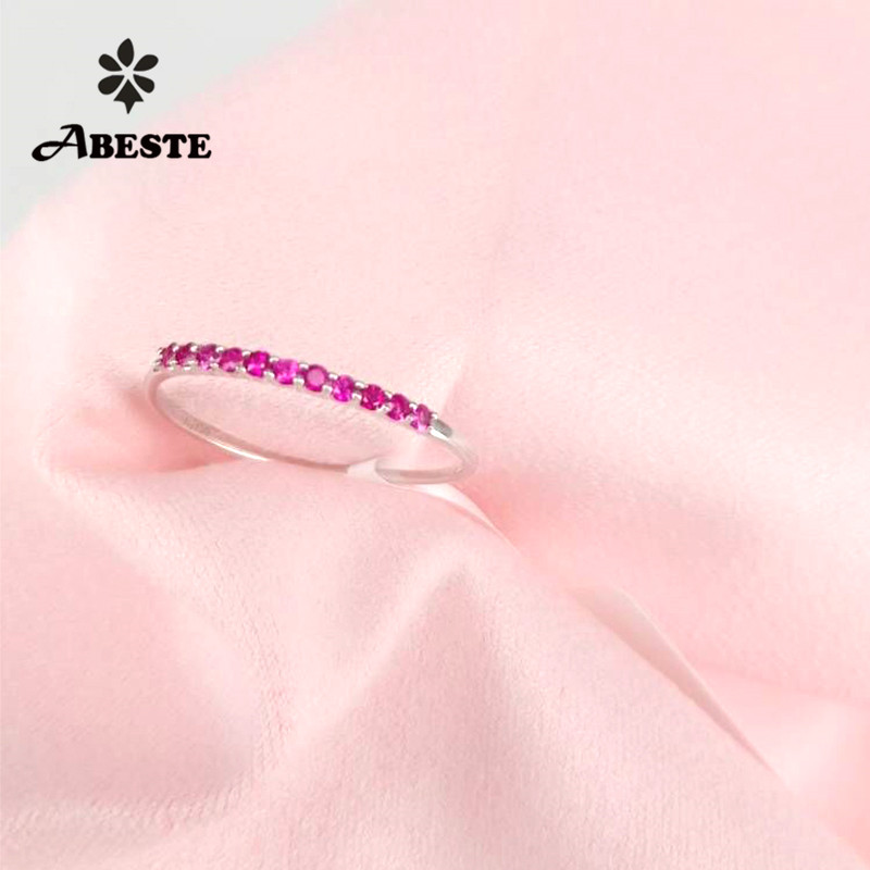 ANI 18K White/Yellow/Rose Gold (AU750) Women Wedding Band Certified Real Natural Ruby Engagement Ring Bague Fine Jewelry Custom ani 18k yellow white rose gold au750 engagement women ring certified emerald blue sapphire ruby natural diamond halo ring