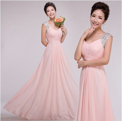 2018 Robe Princesse Women Long Formal Fashion Light Pink Nude Bridesmaid Dresses Soiree Floor Length Gown Dresses For Wedding