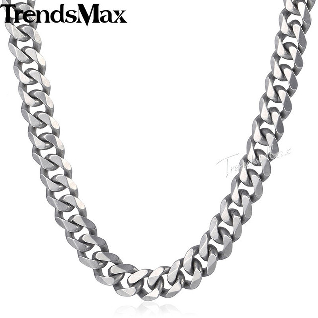 Trendsmax Matte Brushed Polished Necklace Mens Chain 316L Stainless Steel Cut Curb Cuban Link Silver Color Tone 15 mm KHNM18
