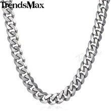 Trendsmax Matte Gebürstet Poliert Halskette Herren Kette 316L Edelstahl Cut Curb Cuban Link Silber Farbe Ton 15 mm KHNM18