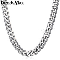 Trendsmax 316L Stainless Steel Necklace Mens Chain 14 5mm Silver Tone Matte Brushed Polished Cut Curb