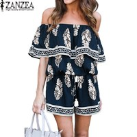 ZANZEA 2017 Boho Off Shoulder Floral Print Ruffle Womens Slash Neck Summer Beach Loose Short Jumpsuit