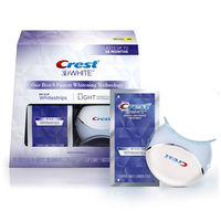 CREST 3D WHITE WHITESTRIPS WITH BLUE LIGHT ORAL CARE TOOTH HYGIENE TEETH WHITENING KIT 1 box 20 STRIPS 10 TREATMENTS