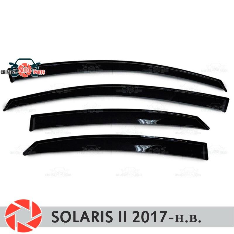Defletores janela para Hyundai Solaris 2 2017-chuva deflector sujeira proteção styling acessórios de decoração do carro de moldagem