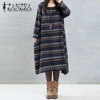 2017 ZANZEA Autumn Vintage Striped Women O Neck Long Sleeve Casual Cotton Linen Loose Party Mid