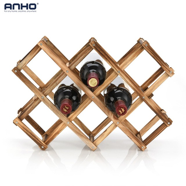 Anho Classical Red Wine Rack Wooden Folding Free Standing Bottles