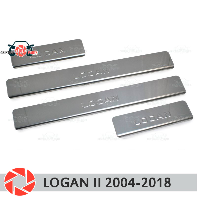 Door sills for Renault Logan 2014-2018 step plate inner trim accessories protection scuff car styling decoration car door led logo ghost shadow light step projector welcome light laser lamp jesus fish puddle light for dodge ford 1524 white