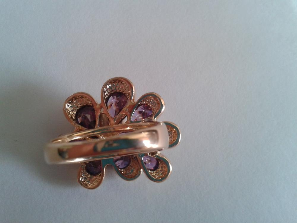 Fashion New Women Rings Rose Gold Color Flower Ring With Purple Austrian Crystal 22*24mm Christmas Gift Ri-HQ0281