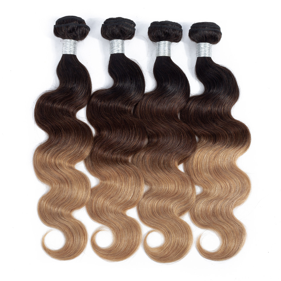 Cheap Ombre Body Wave Hair 3/4 Bundles 1B/4/27 Three Tone Color Brazilian Human Hair Weave Bundles Pure Remy Hair Full And Thick