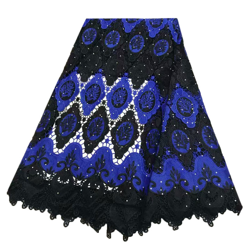 HFX Black Mix Royal Blue Nigeria African Lace Fabric Indian Embroidery Lace Guipure Cord Lace Fabric For Wedding Dress X979-2HFX Black Mix Royal Blue Nigeria African Lace Fabric Indian Embroidery Lace Guipure Cord Lace Fabric For Wedding Dress X979-2