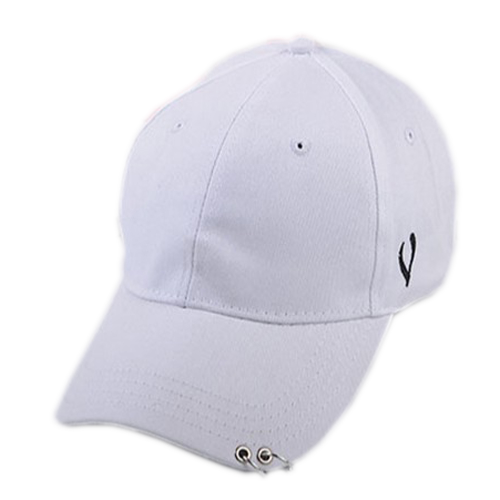 Unisex Solid Ring Safety Pin Curved Hats Baseball Cap Men Women Fashion Baseball Cap
