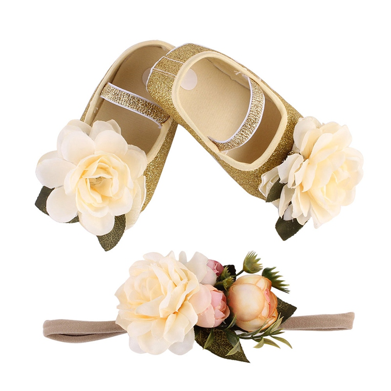 New Baby Girl Flower Sequins Shoes Sneaker Anti-slip Hand Soft Toddler Shoes+1pc Hairband Elastic Band Baby Born First Walkers ...