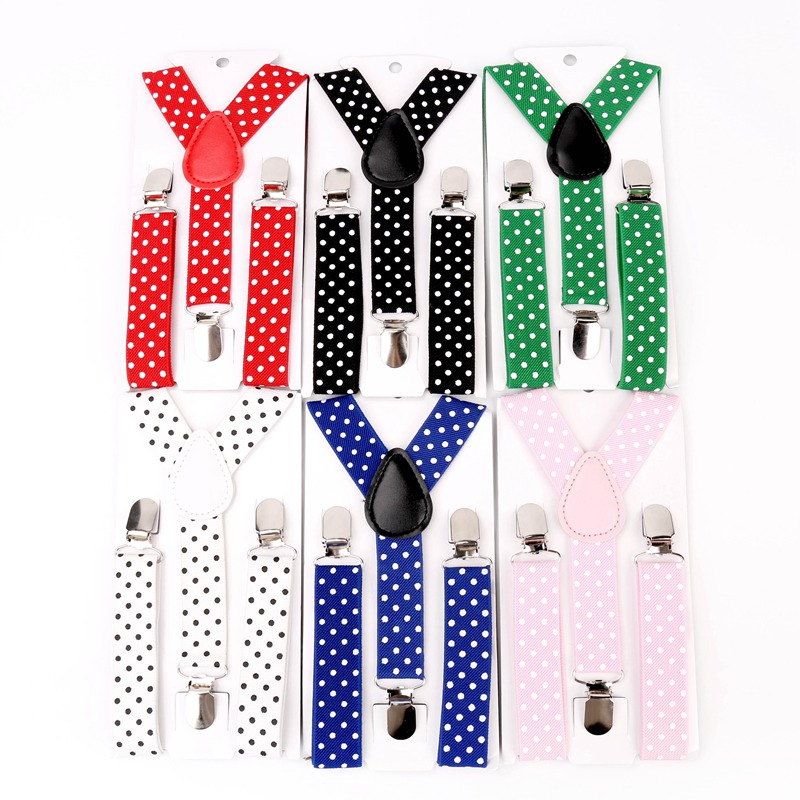 Children Suits Polka Dots Suspenders 3 Clip Adjustable Shirts Kids Suspenders for Baby Boys Belt Strap Braces