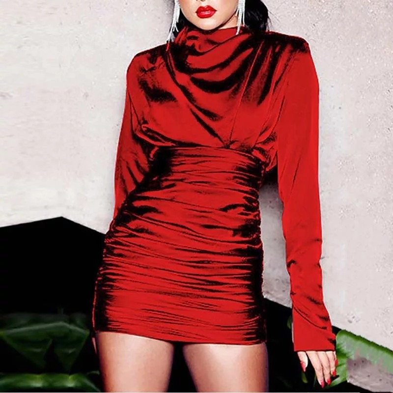 Women O Neck Full Sleeve Pleated Mini Dress Sexy Silky Slim Clubnight Party Dress Elegant Autumn Bodycon Dress Vestidos photo review
