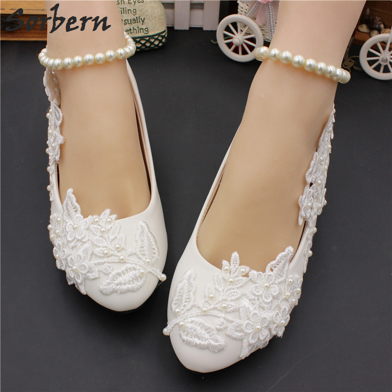 Sorbern White Lace Flowers Bridal Shoes 3Cm Cute Heels Wedding Shoe Pumps  Women Shoes Women S Wedding 15ea16f4070c